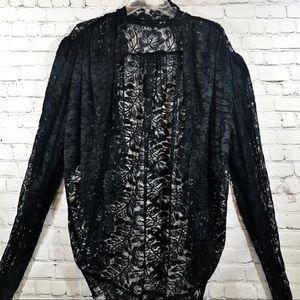 Vintage Norma Kamali black lace Topper size M